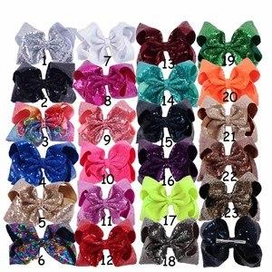 """Image 2 - 8 części/partia 8 """"cekiny włosy kokardki z klipsami dla dzieci dla dzieci Handmade duże Bling Rainbow cekiny łuki Hairgrips akcesoria do włosów"""