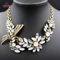 Big Gray Rhinestone Flowers Necklaces Gold Plated Chunky Statement Chokers Necklaces Maxi Women Jewelry