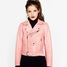 Women Yellow Leather Jacket 2016 New Autumn Winter Fashion Long Sleeve Zipper Leather Jacket Short Coat veste cuir femme