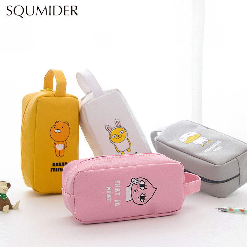 Kawaii Cartoon Animals PU Leather My Friend Pencil Case Large Capacity Pencil Bag School Stationery For Kids Christmas' Gift