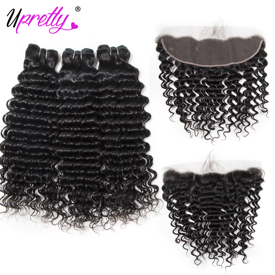 Upretty Hair Deep Wave Bundles With Frontal Malaysian Hair 3 Bundles With Frontal Remy Human Hair Bundles With Frontal For Sale ...