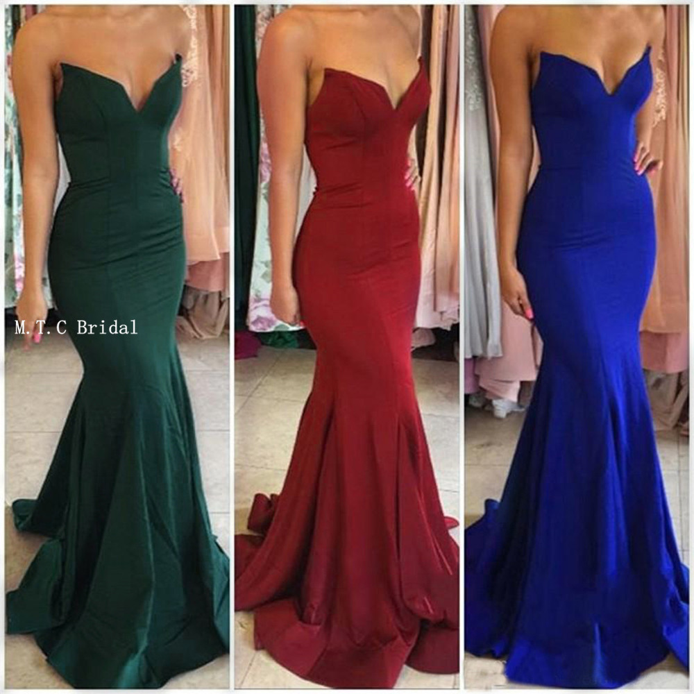 Dark Green Burgundy Royal Blue Mermaid Prom Dresses 2019 Hot Selling Sweetheart Floor Length Elastic Satin
