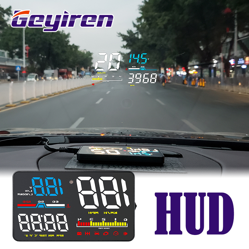 GEYIREN D5000 Head Up Display OBD Film Smart Display Speedometer Temperature Car Electronics Speed Projector On The Windshield