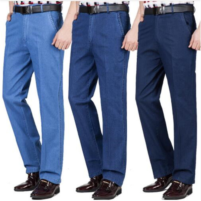 Pants Male Jeans Thin Loose High-Waist Straight Casual Summer Solid Long Business