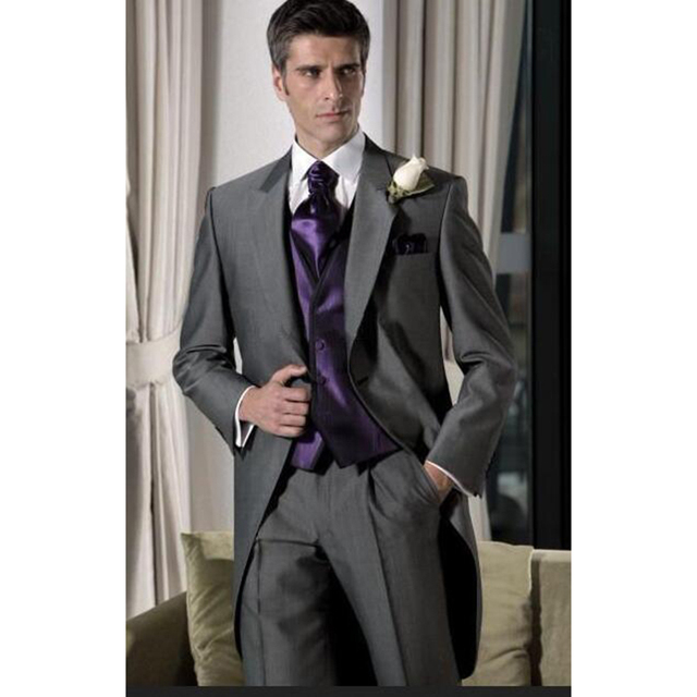 Online Shop 2017 Fashion Men Wedding Suit Gray Tailcoat Jacket ...