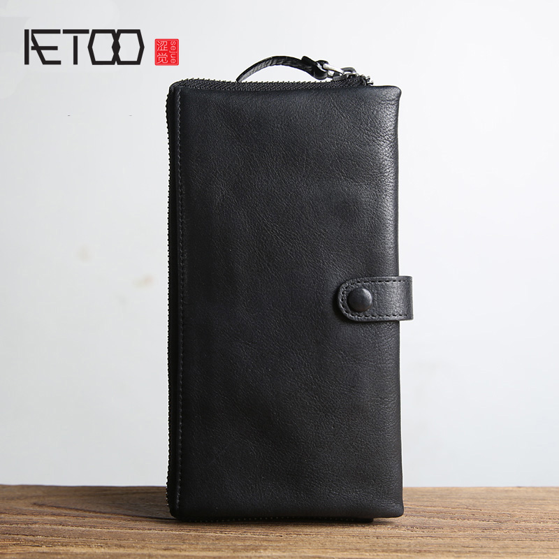 AETOO Genuine Leather Wallets Men Wallets Clutch Male Purse Long Wallet Clutch Men Bag Card Holder Purse Phone Holder Vintage 2017 vintage men hunter letters long brown pu leather wallet purse card holder clutch wallets gifts lt88