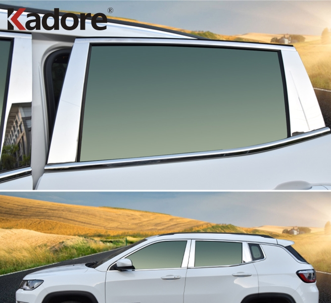 For Jeep Compass Second Generation 2017 2018 2019 Stainless Steel Chrome Car Window Center B+C Pillars Cover Trim Accessories