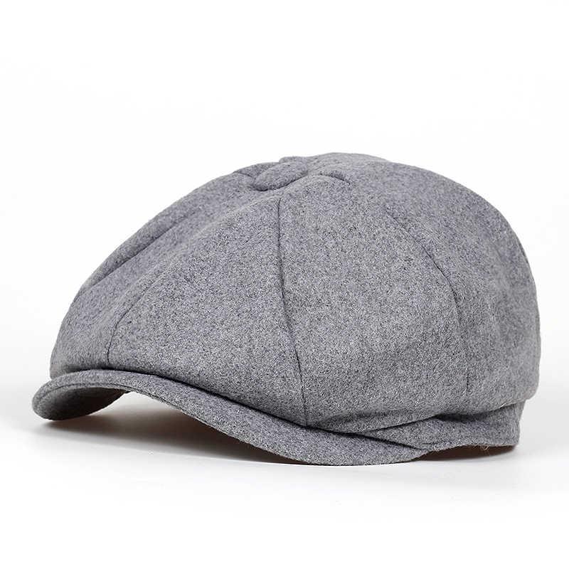 aca47323ff8 ... 2018 new Brand Beret Men Women Wool Tweed Hats Newsboy Caps Gatsby  Octagonal Cap wool Vintage ...