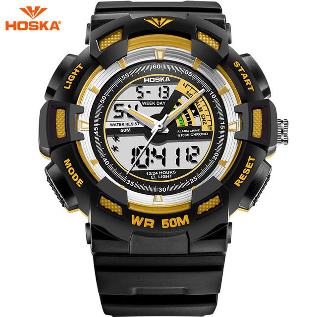Hoska marca esporte crianças relógio digital para meninos g estilo banda de plástico de borracha de choque de alta qualidade à prova d' água digital-relógio hd030b