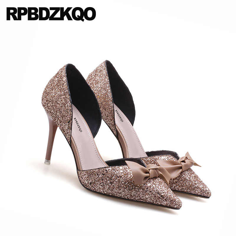 d4fb23d3189 ... Glitter Bow Pointed Toe Pumps Suede Bride Bling Wedding Shoes High  Heels Dress Sandals Prom 2018 ...