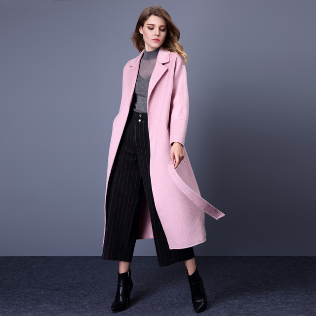 482a0c40c09 American Style Women s High Fashion Loose Plus Size Turn Down Collar Sashes  Black Long Cashmere Coats Ladies Woolen Pink Coats