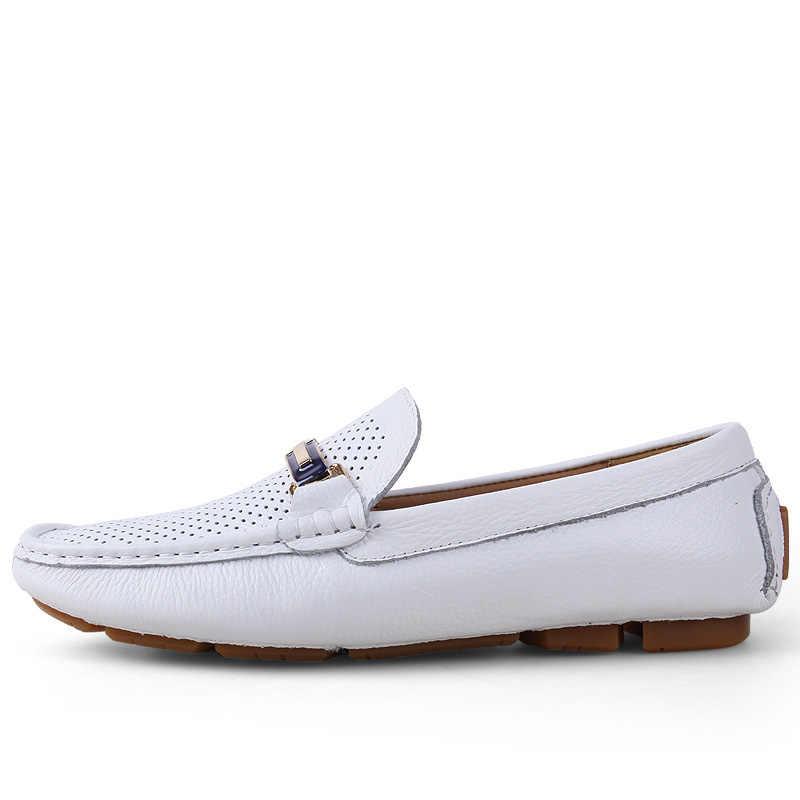 AGSan Zomer Ademend Mannen Rijden Schoenen Echt Leer Heren Instappers Wit Zwart Italiaanse loafers Luxe Designer Mocassins Mannen
