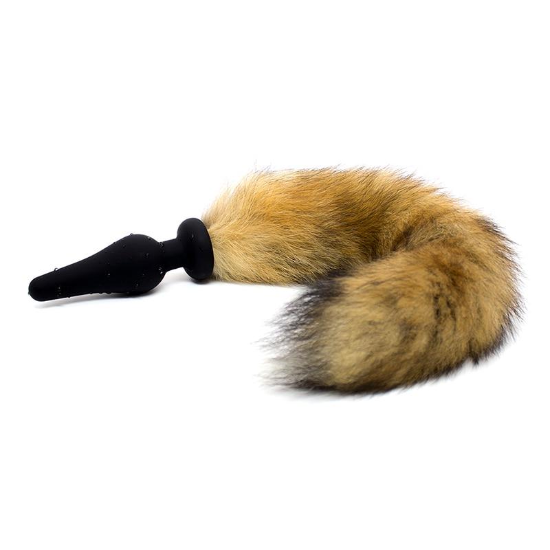 Hot Sale 100 True Animal Hair Anal Tail Anal Butt Plug Black Silicone Anal Plug Adult -4683