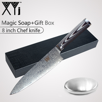 XYj AUS10 Japanese Damascus Steel Kitchen Cooking Knife Set G10 Handle Stainless Steel Soap Knife Sharpener Gift Box Best Choice