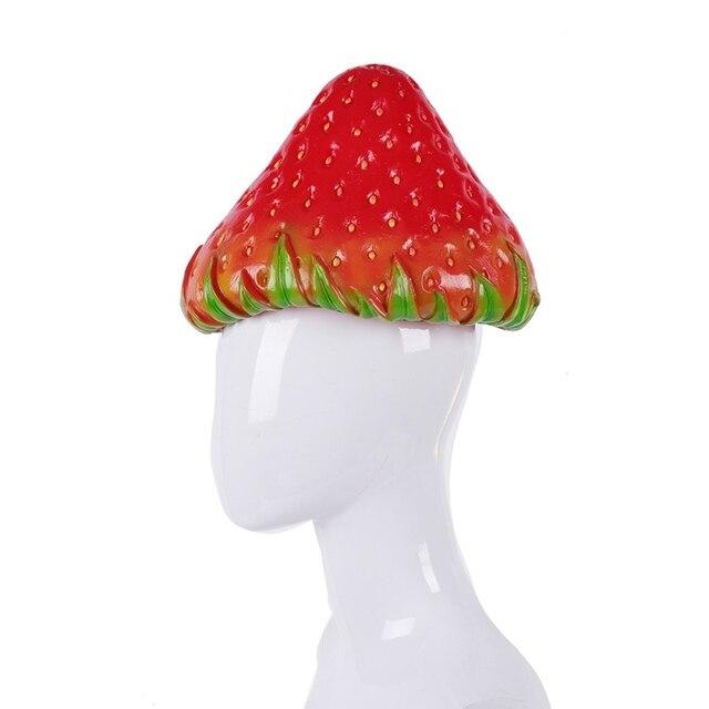 Partei Cosplay Kostüm PVC Simulation Erdbeere Hut Nette Obst Kopf Abdeckung Leistung Requisiten Halloween Karneval Headwear