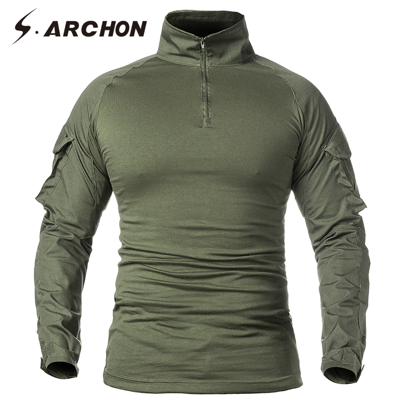 S.ARCHON Military Tactical Long Sleeve T Shirt Men SWAT Soldier Uniform Combat Shirts Fitness Breathable Paintball Army T-Shirt men military tactical outdoor shirts 100% cotton breathable long sleeve shirt army multi pockets swat shooting urban sports