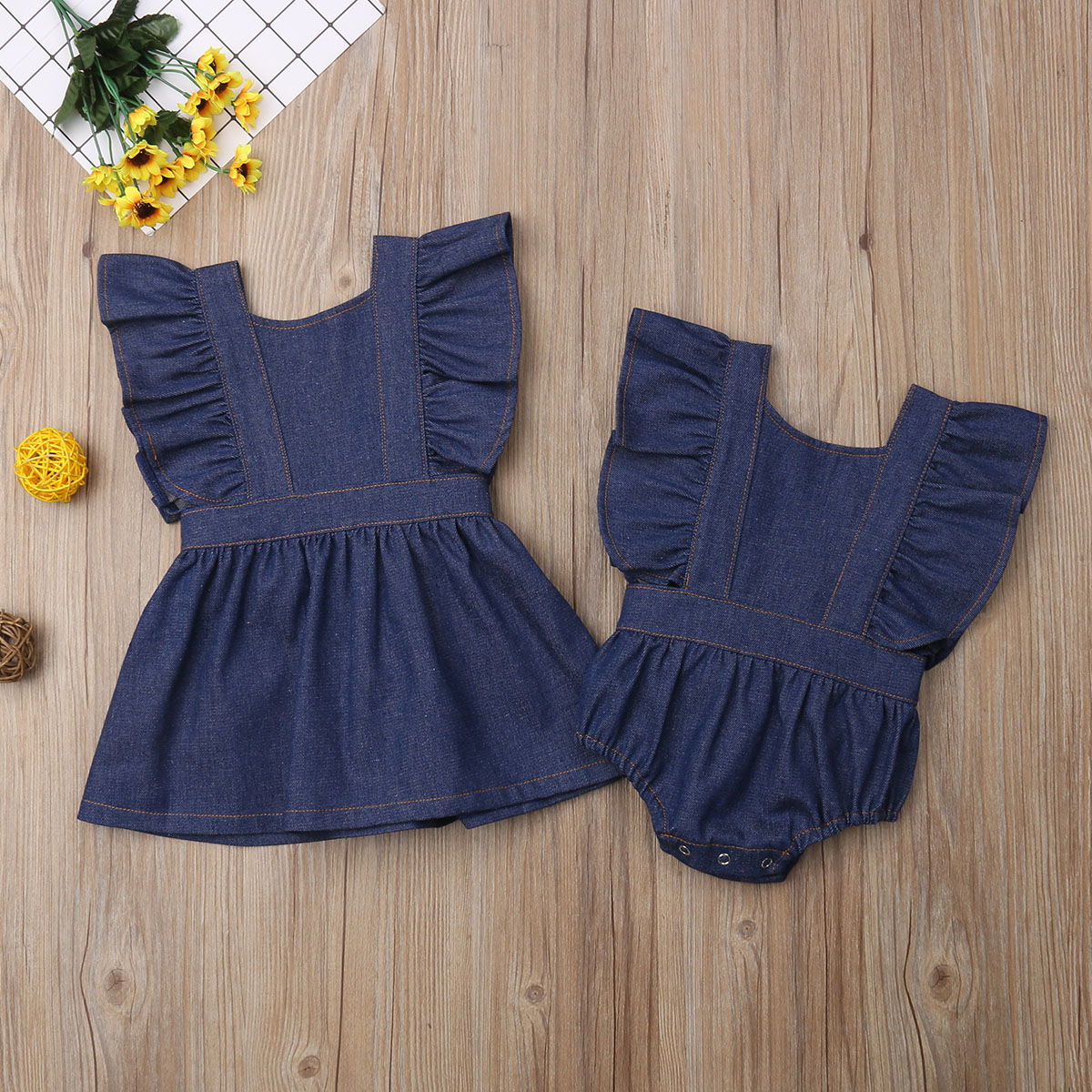 Sister Matching Denim Backless Romper Dress