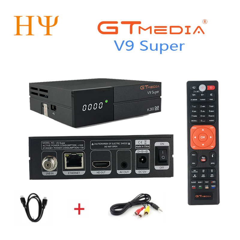 3PCS/Lot Gtmedia V9 Super support H.265 better freesat V8 super V8 Nova set top box DVB S2 satellite receiver Builtin wifi цена 2017