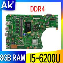 Placa base para ordenador portátil DDR4 X556UAM para ASUS X556U X556UV X556UQ Test placa base original DDR4 8GB RAM I5-6200U(China)