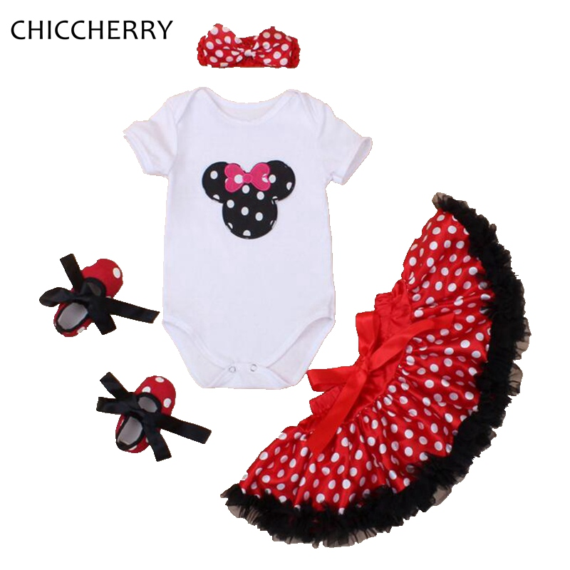 Red Polka Dots Baby Lace Tutus Classic Minnie Infant Bodysuit Headband Shoes Set Vetement Fille Bebe Menina Winter Girl Clothes minnie newborn baby girl clothes gold ruffle infant bodysuit bloomer headband set winter jumpsuit toddler birthday outfits