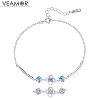 Veamor 925 Sterling Silver Four Leaf Clover Charm Bracelets Fashion Jewelry Flowers Link Chain Bracelet Crystals