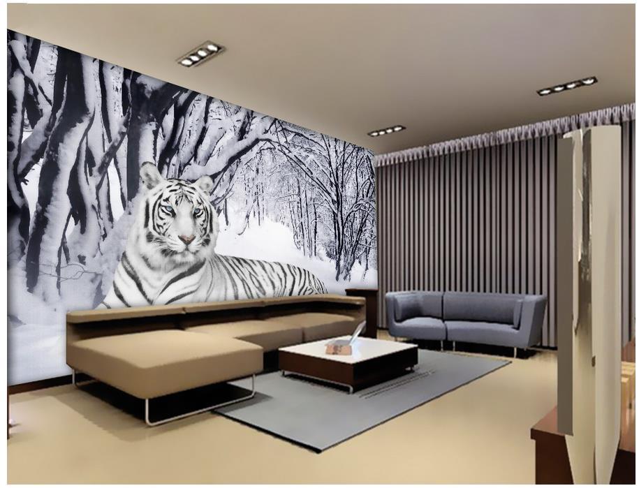 3d personnalisé papier peint décoration de la maison neige blanc tigre fond mur photo mural papier peint