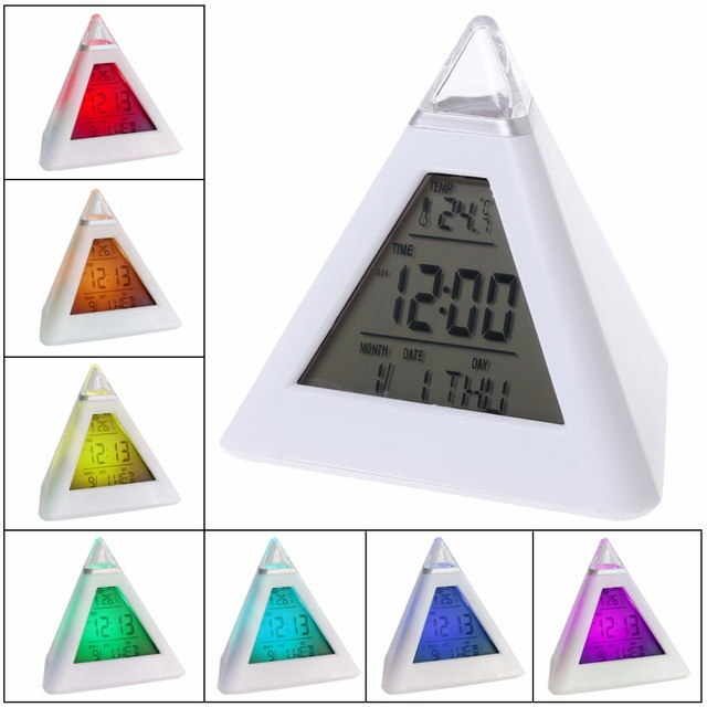 Triangle Pyramid Time 7 Color Change LED Alarm Digital LCD Clock Thermometer New