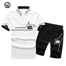 Europe Size Tracksuit Men Sweat Suit Summer 2PC Set Men Striped Tops Tees+Shorts Camisetas Hombre Casual Fashion Brand Clothing
