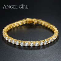 Angel Girl Big Sale Round 18K Gold 5MM Cubic Zirconia Tennis Micro Inlay Bracelets Bangles Charm