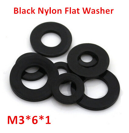 500pcs M3*6*1 Black Nylon Flat Washer DIN125 Plastic Ring Gasket image