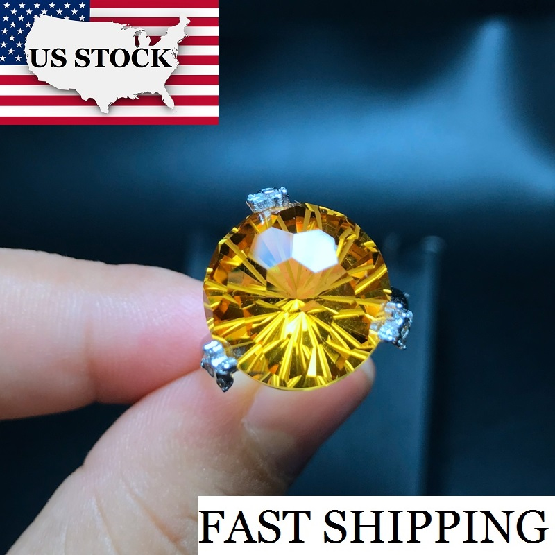 US STOCK Uloveido 925 Sterling Silver Exaggerated Big Grain Citrine Rings Yellow Gemstone Wedding Promise Ring