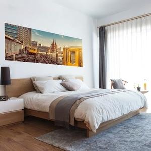 Image 2 - Настенный стикер на кровать, городской поезд, метро, украшение для спальни, ПВХ
