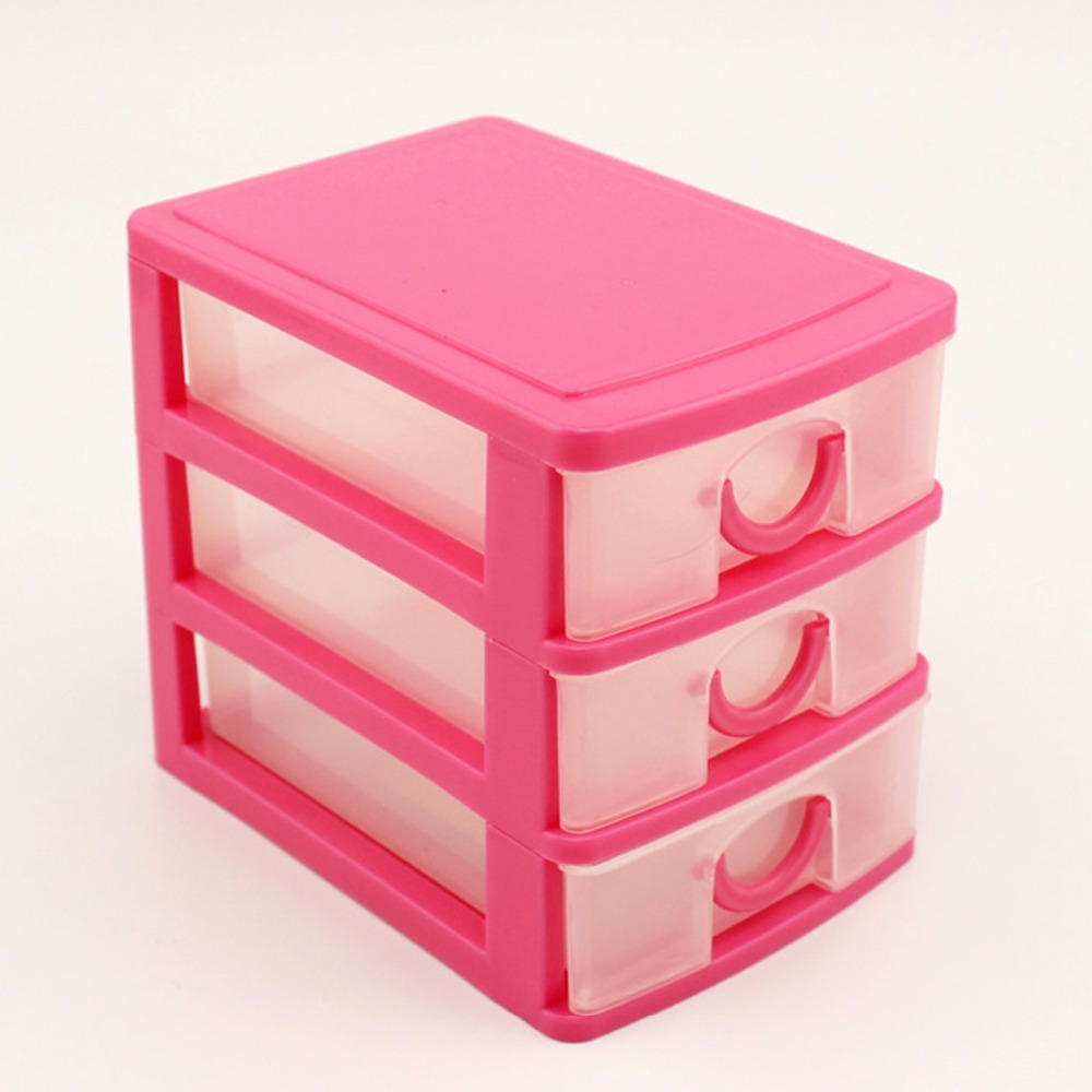 Candy Color Three Layers Mini Draw-out Desk Storage Box Container - Pink