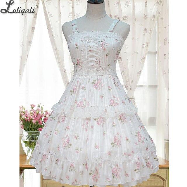 Sweet Floral Printed Lolita JSK Dress Sleeveless Chiffon Summer Dress for Women