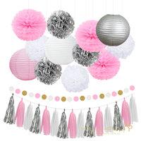 Nicro 17 Stücke Mixed Silber Rosa Weiß Party Laterne Blume Quaste hängende DIY Taufe Geburtstag Hochzeit Dekorationen