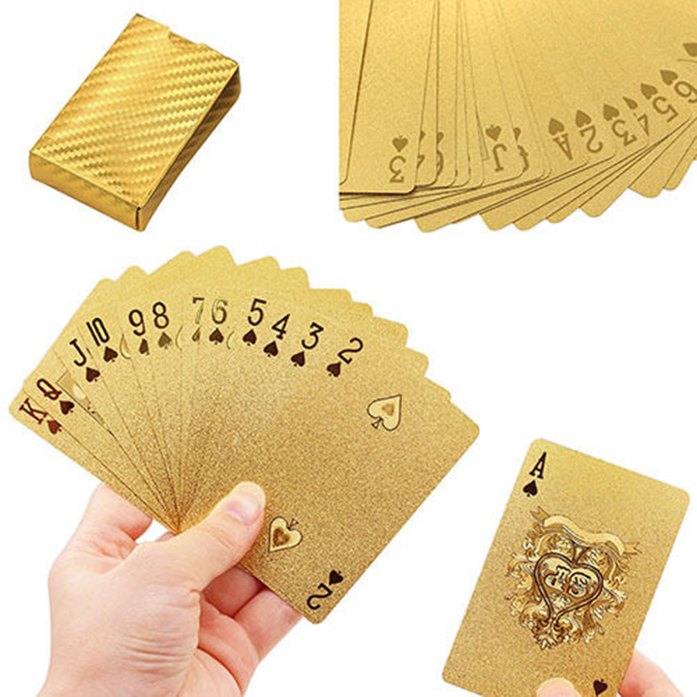 1 Set Golden Playing Cards Deck gold foil poker set Magic card 24K Gold Plastic foil poker Durable Waterproof Cards [epcs love] art si scott eternal love limited edition poker card collection magic deck props