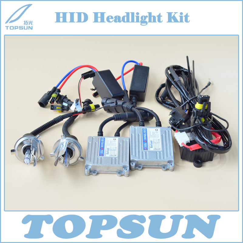Free Shipping Car Light 12V 35W HID Xenon Headlight Conversion Kit TOPSUN Ballast, H4 Swing Angle Bulb and High Low Control Wire 55w hid bulb ballast xenon kit 12v dc car conversion headlight head light 3000k 15000k for genesis coupe 2013 free shipping