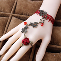 Gothic Jewelry Steampunk Red Rose Flower Bangle Vampire Lace Bracelet For Women 2B307