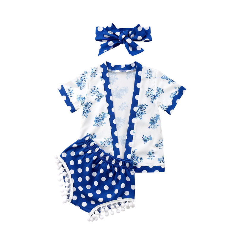 Newborn Baby Girls Clothes Set 2018 Summer Toddler Baby Girls Shawl Cape Tops Dot Briefs Shorts 3Pcs Outfits Kids Girls Clothes