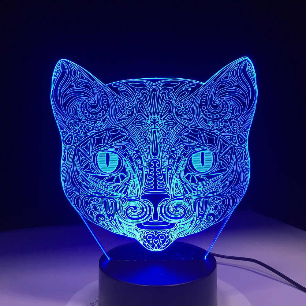 Led Table Lamps Beautiful New Brown Bear Head 3d Night Desk Lamp Seven Colors Touch Control 3d Led Visual Lamp Festival Gift Table Lamps For Living Room