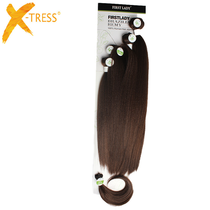 X-TRESS Syntetisk Yaki Straight Hair Bundles 6Pcs / Pack 12 14 16 - Syntetiskt hår - Foto 5