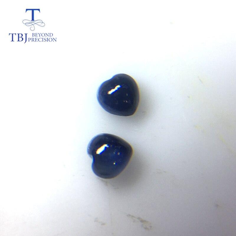TBJ, saphir bleu naturel en forme de coeur 4mm, 2 pièces en un lot poids 0.85 ct par lot. Bijoux à bricoler soi-même.