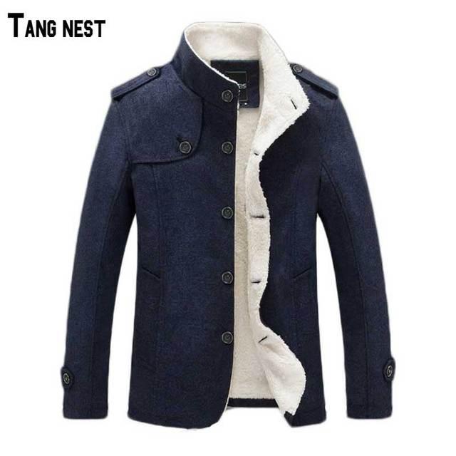 Tangnest homens casaco de inverno 2017 novos homens da chegada prevista de lã & blends homem mwn196 confortável casaco outwear quente para o sexo masculino