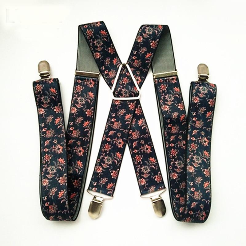 BD053-2018 New 3.5 Width 4 Clips Suspenders Men Women Adjustable Elastic Flower X Back Suspensorio Children Teen Pants Braces