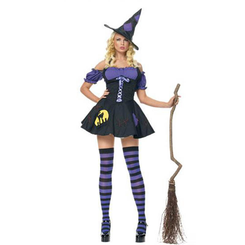 Sexy Witch Costumes Women Adults Halloween Costume Short Fancy Dress Cosplay Stage Play Halloween Costumes W295007