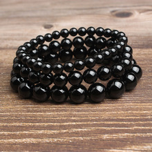 Ling Xiang 4/6/8/10/12mm fashion Jewelry Black onyx stone beads bracelet be fit for Glamour rmen and women send Gifts amulet