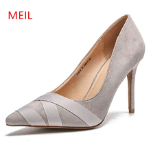 цены Women Stiletto High Heels Fashion Shallow Pumps Female Suede Leather Wedding Shoes 2019 Professional Slimming Pointed Heel Shoes