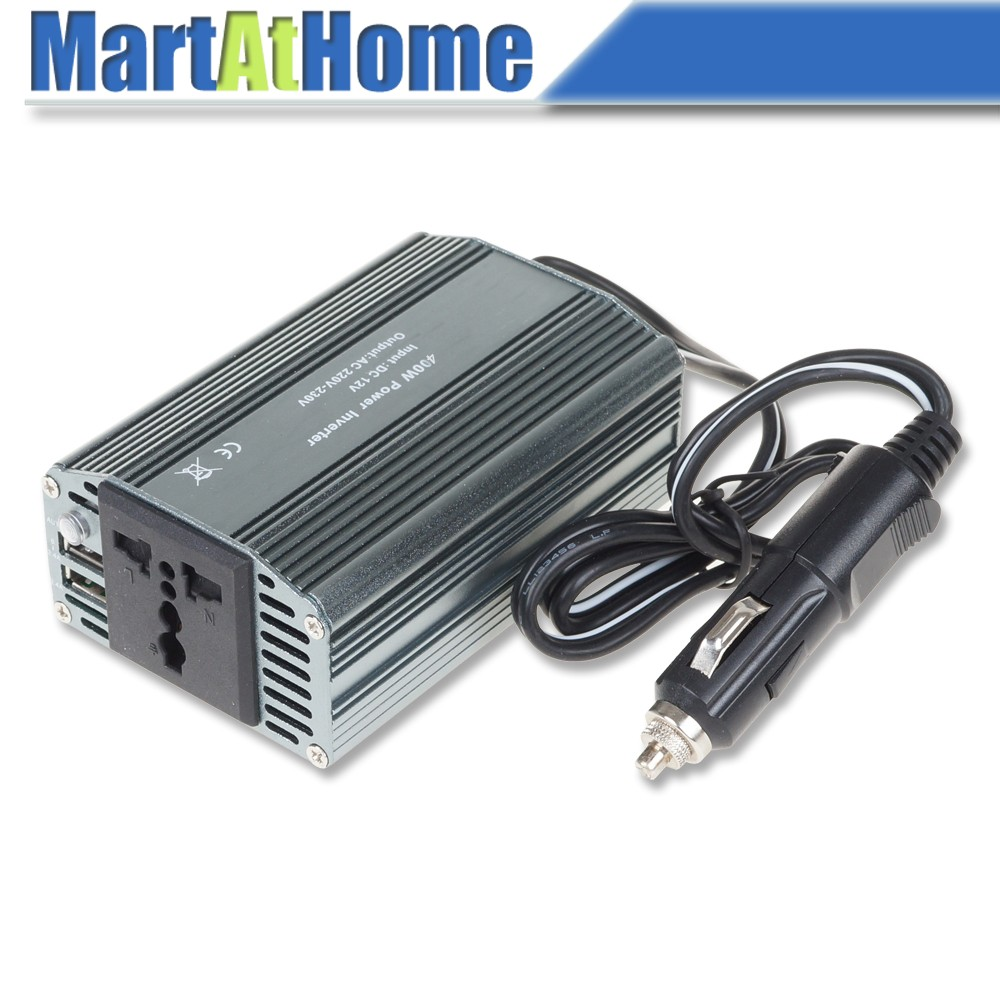 Free Shipping 400W 12V DC to 220V AC Travel Car Auto Power Inverter Modified Sine Wave with Outlet & Dual USB Ports 5V 2.4A @CF
