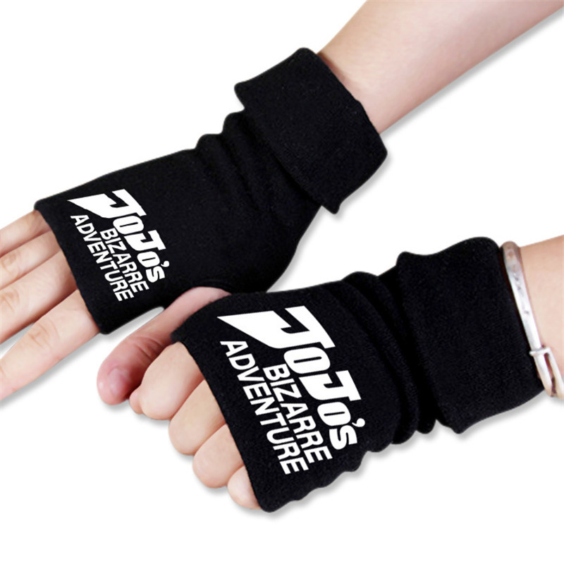 Men Women Japan Anime Cartoon Bizarre Jo Jo Adventure Winter Warm Half Finger Glove Cosplay Accessories