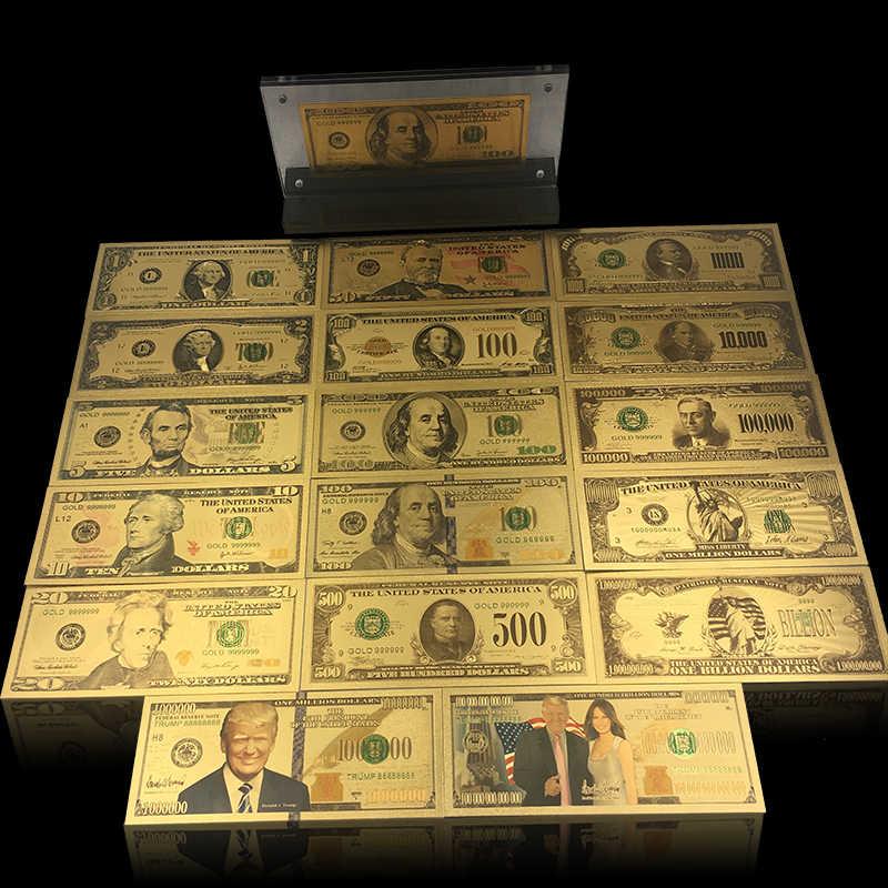 KL 1 pc presidente Americano 1 Dollaro 24 k Oro Placcato Denaro Falso Stati Uniti Bill Banconota con Una Bella Del Basamento per la Raccolta